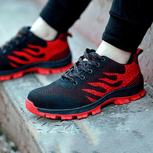Mens Slip-resistant Steel Toe Work Shoes Lace-up Athletic Shoes
