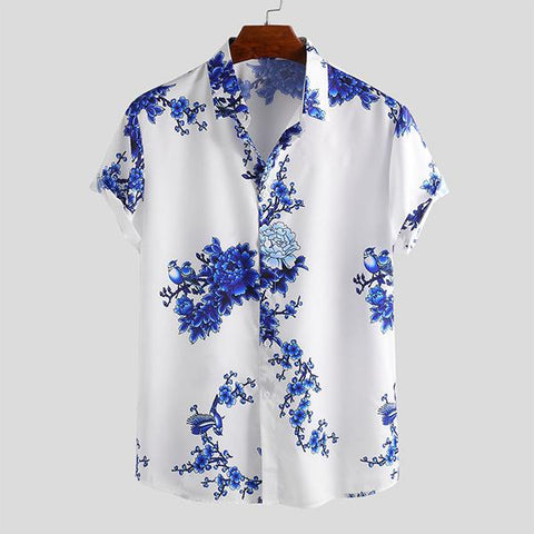 Chinese Style Porcelain Floral Printed Short Sleeve Turn Down Collar Tops