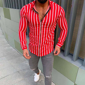 Men's Stripe Turndown Collar Zipper Casual Fashion Shirts