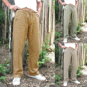 Vintage Mens Linen Loose Pants Beach Yoga Gym Drawstring Casual Slacks Trousers