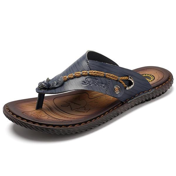 Summer Men Leather Sandals Flip Flops Soft Sole Slippers Beach Shoes