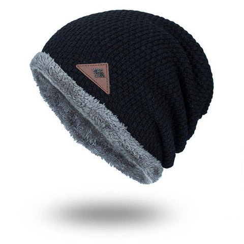 Mens Winter Plus Velvet Knit Solid Outdoor Warm Caps