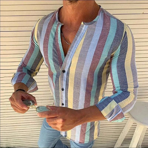 Stripe Long Sleeve Men's Plus Size Shirts