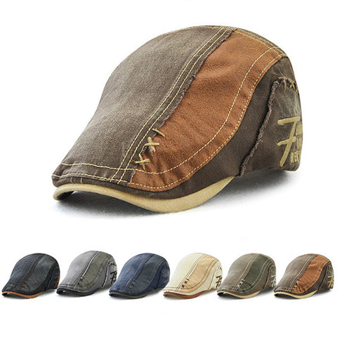 Mens Cotton Patchwork Newsboy Cabbie Hat Beret Cap