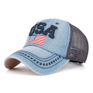 Mens Letter Embroidered Breathable Hat Mesh Baseball Cap