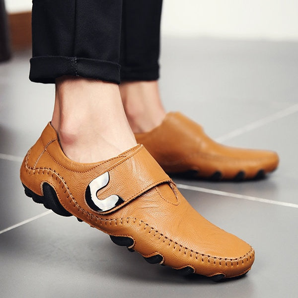 Mens Casual Hook Loop Soft Sole Flat Shoes Driving Shoes