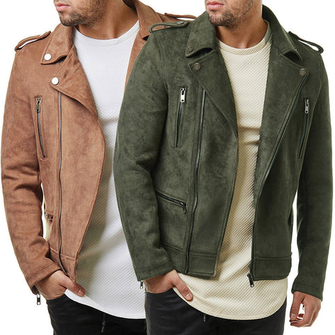 Men's Short Diagonal Zip Suede Jackets