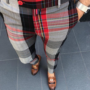 Men's High Waist Plaid Casual Pants