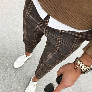 Men's Casual Plaid Cropped Pants