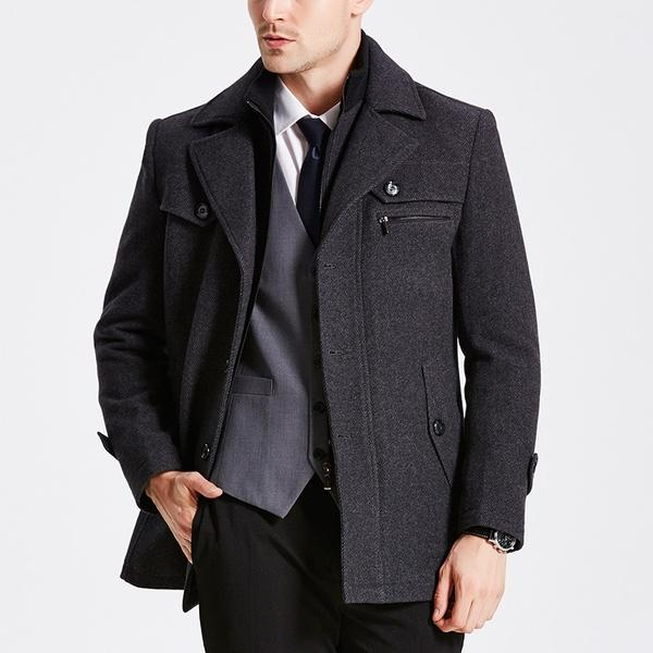 Men's Woolen Coat Warm Down Jacket Cotton-padded Coat Warm Tops