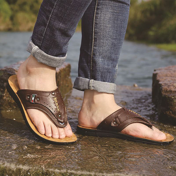 Mens Fashion Clip Toe Casual Slippers Outdoor Flip Flops
