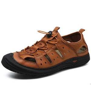 Mens Hollow-out Non-slip Beach Shoes Lace-up Sandals