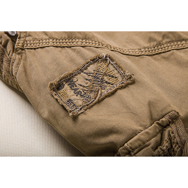 Mens Casual Solid Color Multi-pockets Cargo Shorts