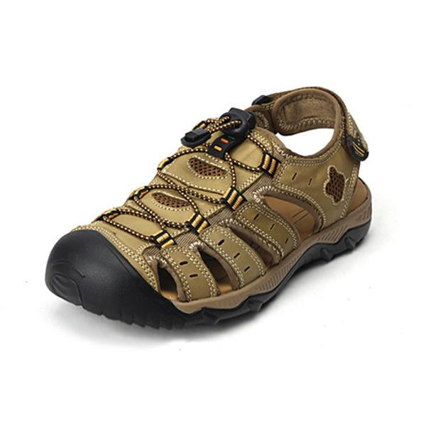 Casual Outdoor Hook and Loop Fastener Sandals Breathable Comfortable Beach Flat Shoes