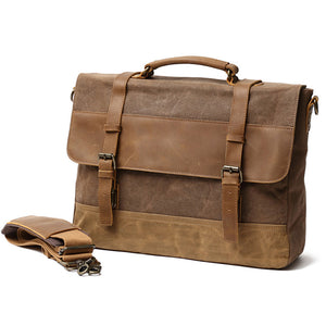 Men's Retro Briefcase Canvas Shoulder Bag Crossbody Bag