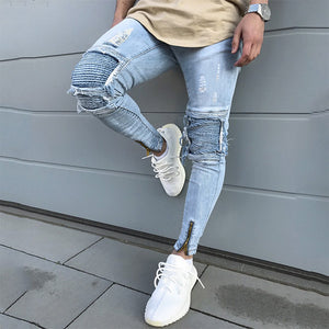 Men Fashion Ripped Zipper Legs Slim Fit Jeans