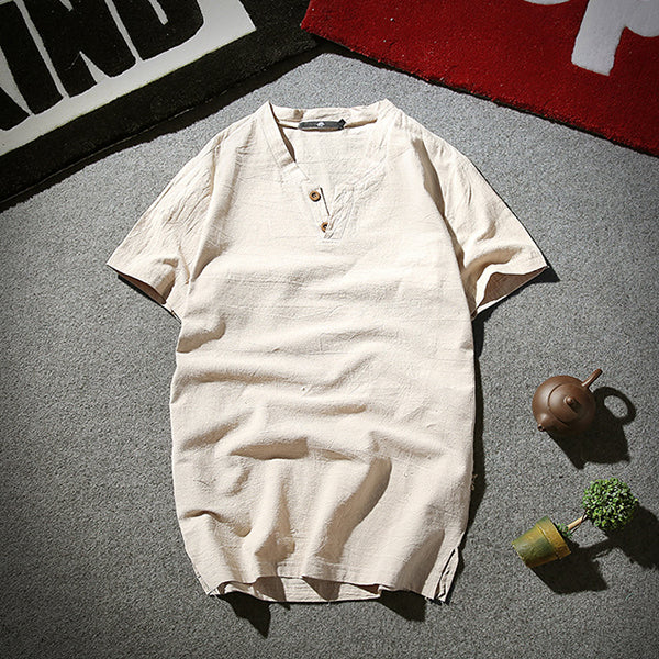 Mens Summer Cotton Linen Solid Color Short Sleeve Casual T Shirts
