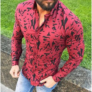 Casual V-Neck Long Sleeve Printed Men's Shirts