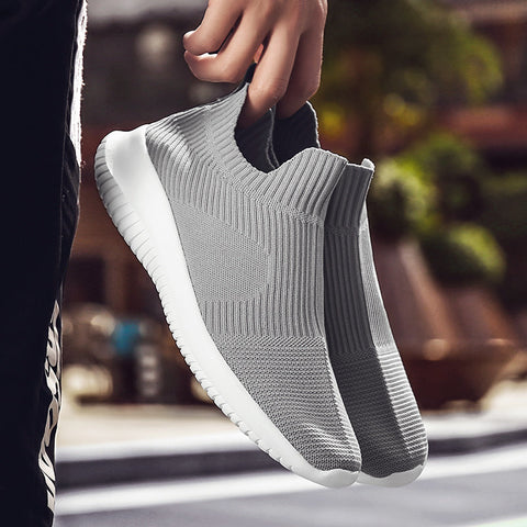Mens Knitted Fabric Breathable Slip On Running Sneakers