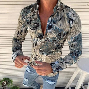 Fashion Creative Slim Fit Abstract Printed Shirt