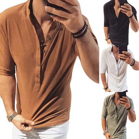 Men's Solid Color Stand Collar Button T-Shirts