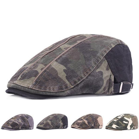Camouflage Beret Cap Duck Hat Sunshade Peaked Forward Adjustable Cap