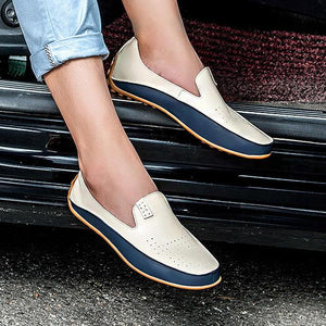 Mens Outdoor Round Toe Color Block Slip On Breathable Flats