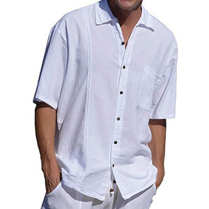 Mens Solid Color Turndown Collar Short Sleeve Pocket Shirts