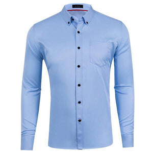 Mens Business Solid Color Chest Pocket Decoration Slim Classic Shirt