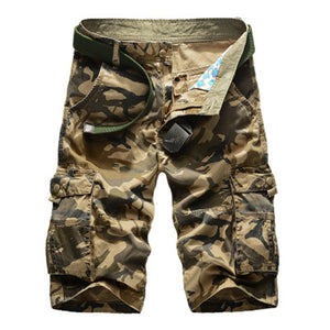 Mens Summer Outdoor Camouflage Multi-pocket Cargo Shorts