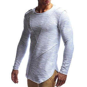Mens Casual Pure Color Slim Fit Long-Sleeved O-neck T-Shirts