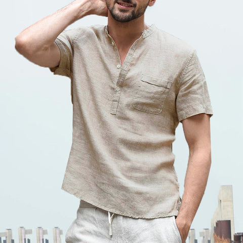 Mens Summer Short Sleeve Linen V Neck Casual Shirts