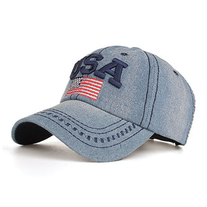 Mens Letter USA Flag Embroidery Sunshade Hats Baseball Caps