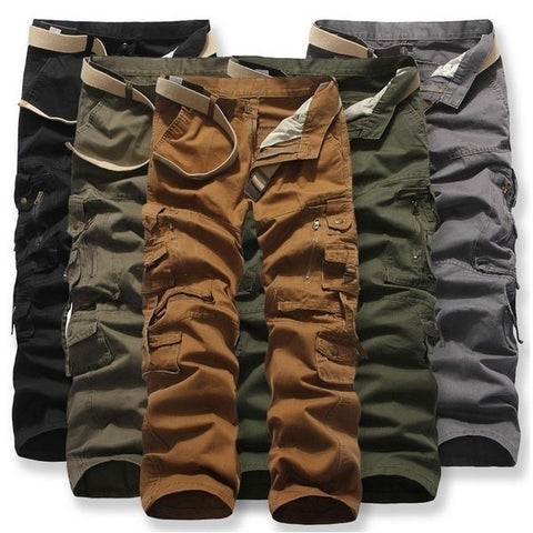 Mens Fashion Pure Color Multi-pocket Casual Pants