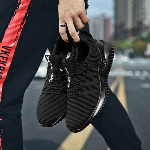 Mens Breathable Knitted Fabric Running Casual Sneakers Athletic Shoes