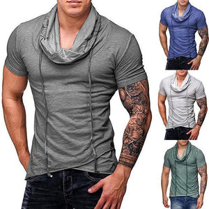 Men's Fashion Solid Color High Collar Short Sleeve T-Shirts
