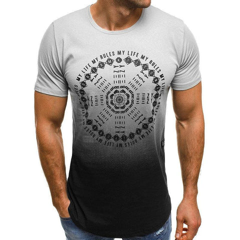 Mens Summer Printed Faded O-neck Short Sleeve Slim Fit Casual T Shirts