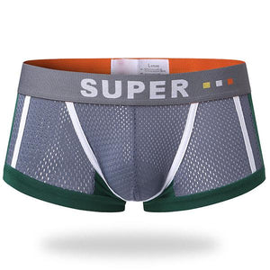 Sexy Mesh Breathable Underwear Sweat Absorbent U Convex Pouch Boxer Briefs