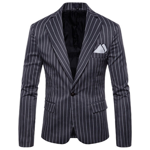New Striped Men's Casual Long Sleeve Suit