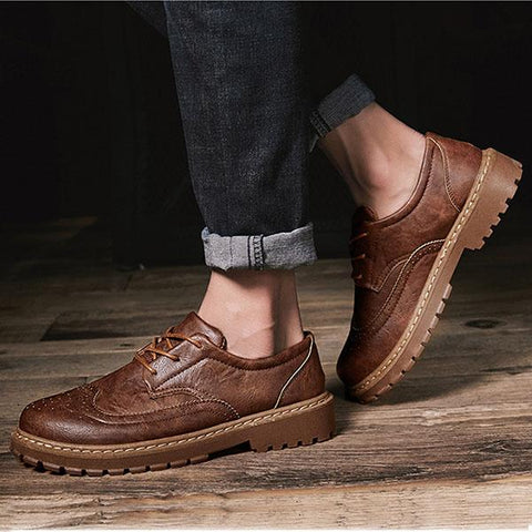 Mens Retro Microfiber Flat Shoes Lace-up Brogue Shoes