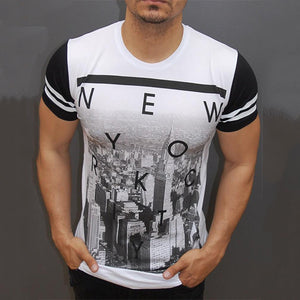 Mens Printed Crew Neck Short Sleeved T-Shirts