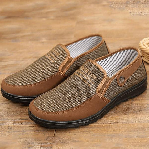 Mens Slip On Soft Casual Canvas Shoes Flat Outdoor Loafers