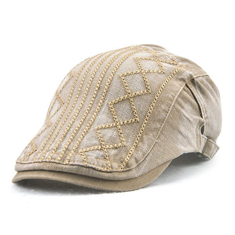 Mens Vintage Sunshade Adjustable Embroidery Hat Outdoor Leisure Stripe Beret Cap