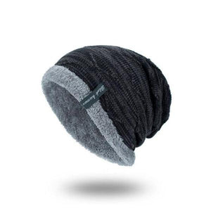 Mens Plus Velvet Knitted Stripe Beanie Warm Hats