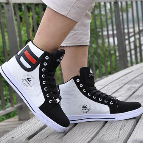 Round Toe High Top Sneakers Casual Leisure Lace Up Skateboard Shoes