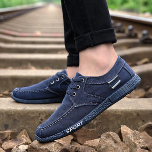 Men Old Peking Style Canvas Breathable Lace Up Casual Driving Shoes
