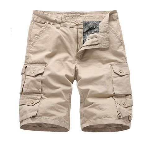 Mens Casual Pure Color Multi-pocket Cargo Shorts
