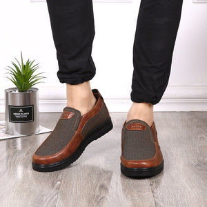 Mens Color Blocking Breathable Shoes Slip-On Casual Flats