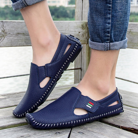 Men Summer Casual Slip on Flat Shoes Hollow Loafers Driving Shoes