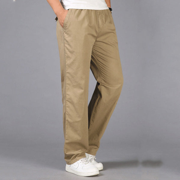 Mens Plus Size Elastic Waist Solid Color Straight Trousers Cargo ...